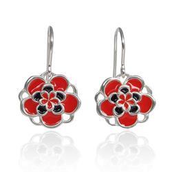 Art: Handmade Silver Jewelry - Red Flower Earrings by Artist Andree Chenier