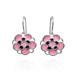 Art: Pink Dangle Earrings by Artist Andree Chenier