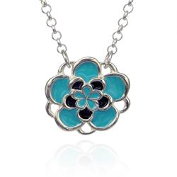 Art: Blue and Black Flower Necklace by Artist Andree Chenier
