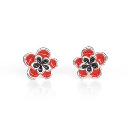 Art: Small Red Flower Studs - Handcrafted Jewelry by Artist Andree Chenier