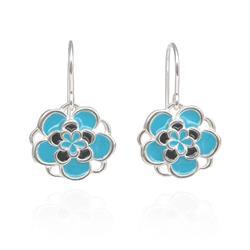 Art: Blue Flower Earrings (hanging) by Artist Andree Chenier