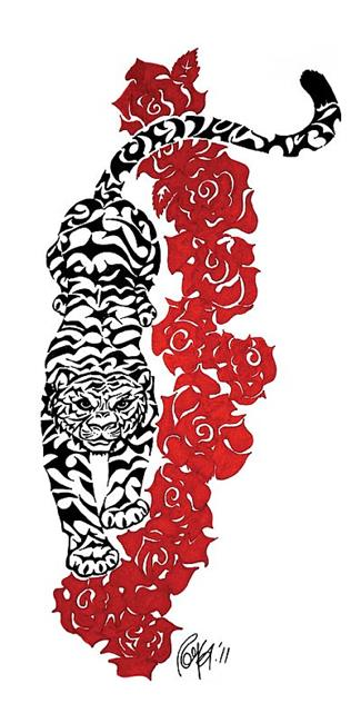 Art: Tiger Roses by Artist Roy Guzman