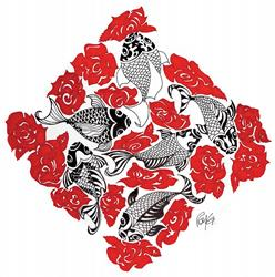 Art: Koi Roses by Artist Roy Guzman