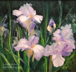 Art: Purple and White Irises SOLD by Artist Karen Winters