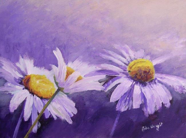 Art: Three Daisies by Artist John Wright