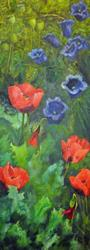 Art: Poppies and Canterbury Bells by Artist John Wright
