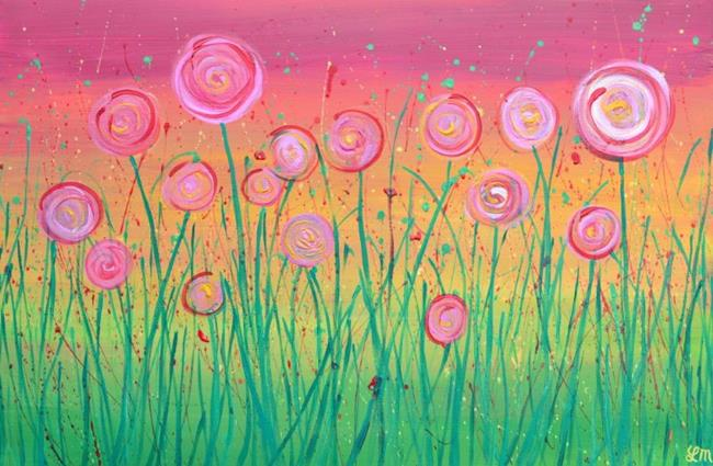 Art: Abstract Flowers - Pink & Gold by Artist Louise Mead