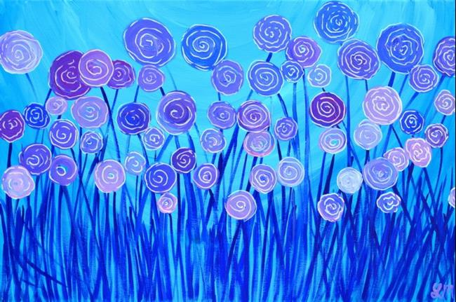 Art: Abstract Flowers - Blue & Purple by Artist Louise Mead