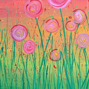 Detail Image for art Abstract Flowers - Pink & Gold