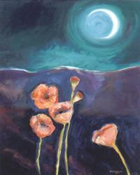 Art: Moon Poppies  by Artist Cynthia Schmidt