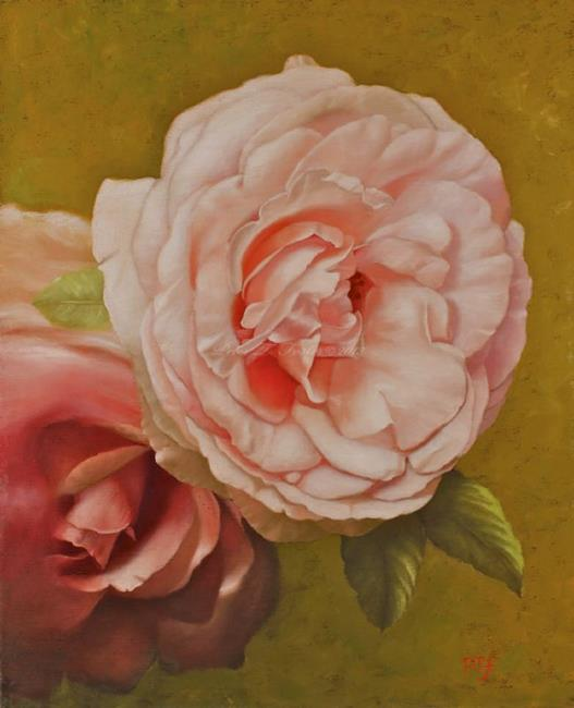 Art: Two roses by Artist p.foster art studio