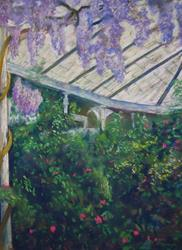 Art: Wisteria and Camelias (Wollaton Hall, Nottingham) by Artist John Wright
