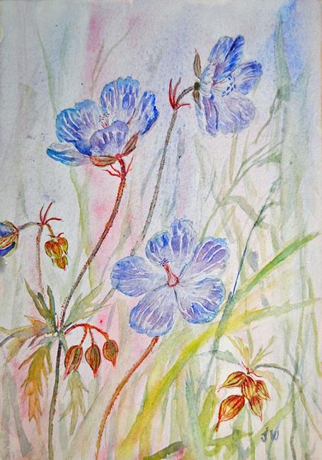 Art: Meadow cranesbill by Artist John Wright