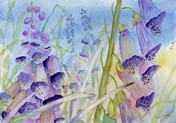 Art: Foxgloves by Artist John Wright
