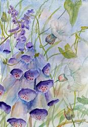 Art: Foxgloves and bindweed by Artist John Wright
