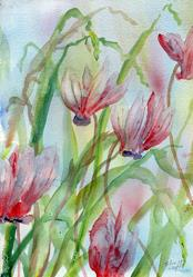 Art: Wild cyclamen (5) by Artist John Wright