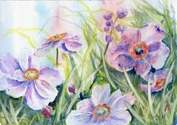 Art: Japanese anemones (4) by Artist John Wright