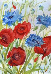 Art: Poppies and cornflowers (5) by Artist John Wright