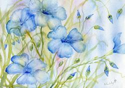 Art: Perennial flax (4) by Artist John Wright