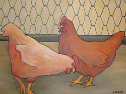 Art: Two Hens by Artist Lindi Levison