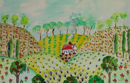 Art: Little House in the Hills by Artist Delilah Smith