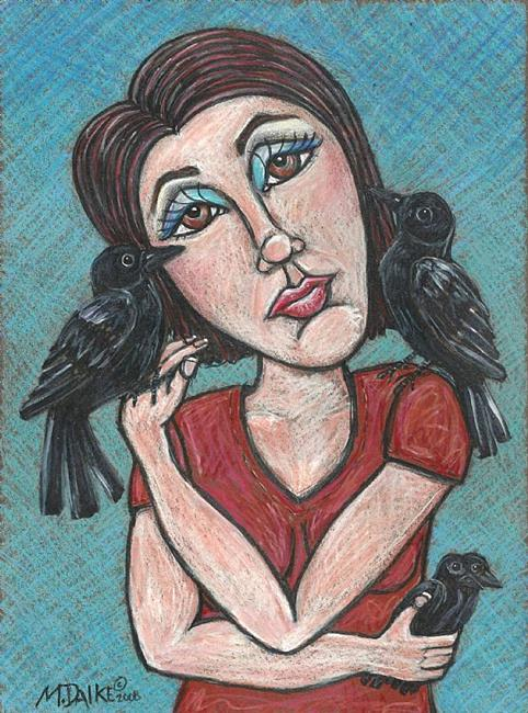 Art: four crows and a red shirt by Artist Melinda Dalke