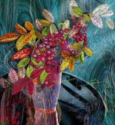 Art: Nandina in a Vase by Artist Alma Lee