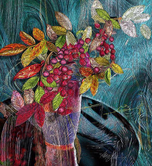 Art: Nandina in a Vase by Artist Alma Lee
