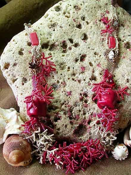 Art: Red Coral Seas by Artist Stephanie M. Daigle
