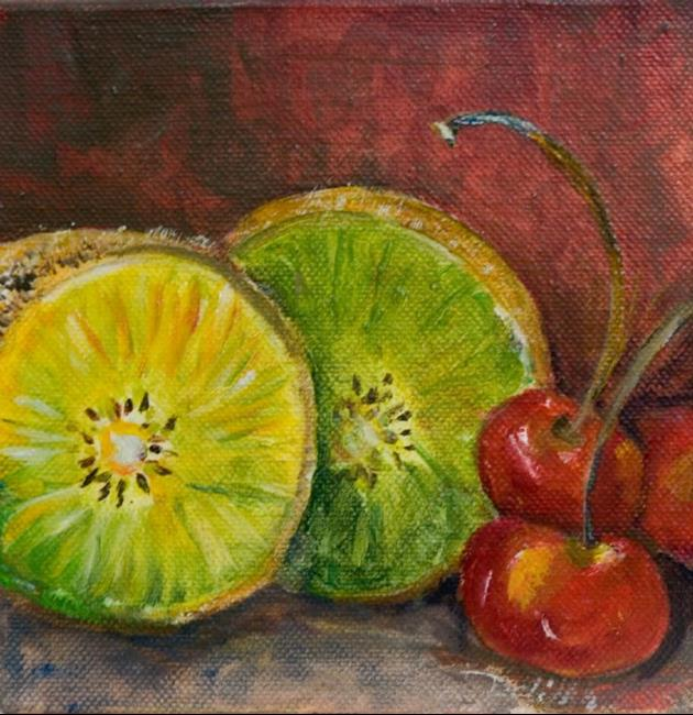 Art: Kiwi and Cherries by Artist Delilah Smith