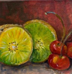 Detail Image for art Kiwi and Cherries-sold