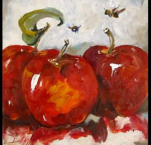 Art: Three Red Apples by Artist Delilah Smith