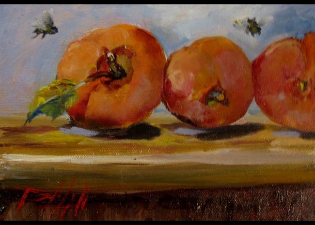 Art: Peach Still Life by Artist Delilah Smith