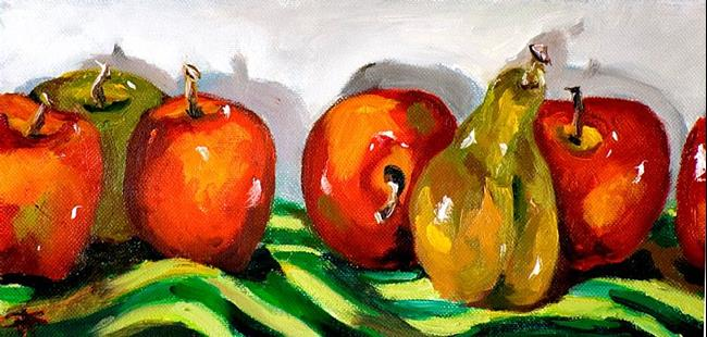 Art: Apples and Pear by Artist Delilah Smith
