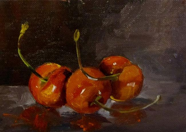 Art: Three Red Cherries by Artist Delilah Smith