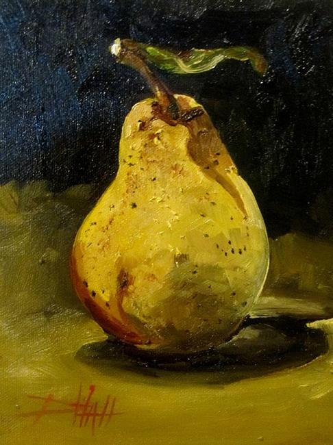 Art: Pear with Leaf by Artist Delilah Smith