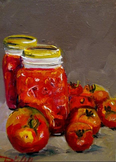 Art: Ball Jar and Tomatos by Artist Delilah Smith