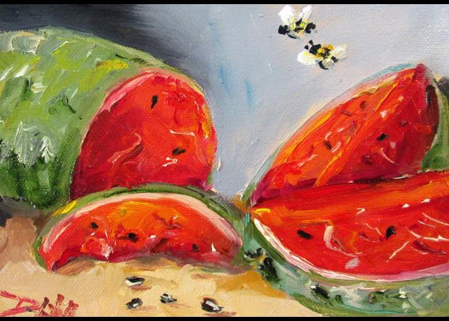 Art: Watermelon and Bees by Artist Delilah Smith