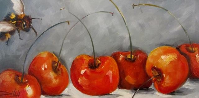 Art: WIne Barrel Cherries by Artist Delilah Smith