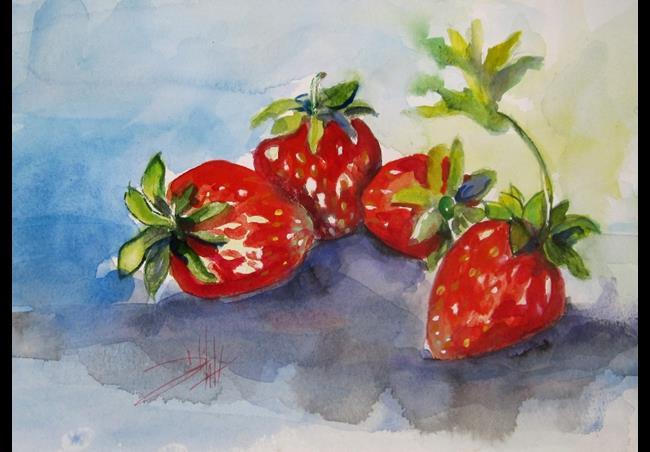 Art: Four Strwberries (800x578).jpg by Artist Delilah Smith