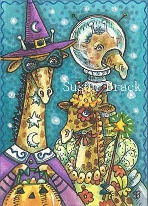 Art: HALLOWEEN GIRAFFES by Artist Susan Brack