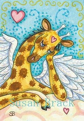 Art: ALL GOOD GIRAFFES GO TO HEAVEN by Artist Susan Brack