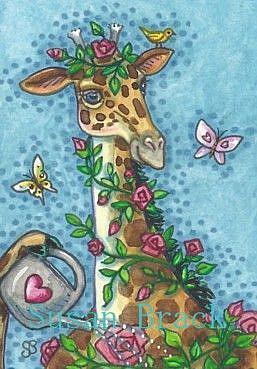 Art: GIRAFFES GROW THE BEST ROSES by Artist Susan Brack