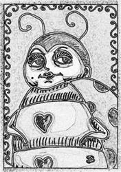 Art: GOTH LADYBUG - Stamp by Artist Susan Brack