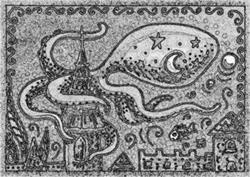 Art: LOST CITY - Octopus Stamp by Artist Susan Brack