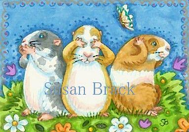 Art: SEE NO EVIL GUINEA PIGS by Artist Susan Brack