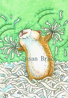 Art: RAH RAH Cheer Leader Hamster by Artist Susan Brack