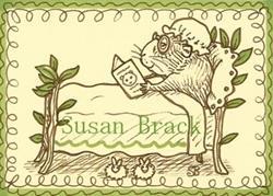 Art: SEPIA DOODLE GUINEA PIG GRANNY Stamp by Artist Susan Brack