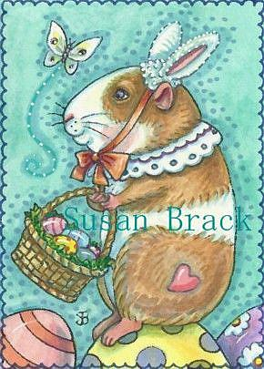 Art: READY FOR EASTER Guinea Pig by Artist Susan Brack
