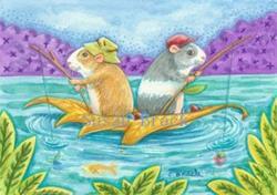 Art: BERRIES FOR BAIT Hamsters Fishing by Artist Susan Brack